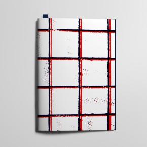Collection Texture - Grands carreaux, Bleu profond et Rouge Coquelicot